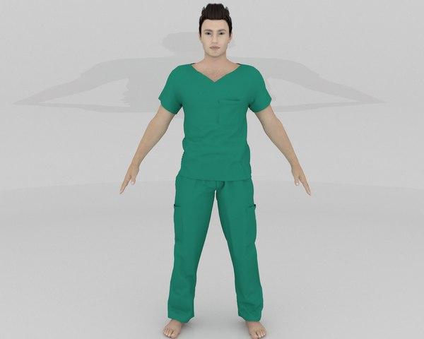 3D hospital uniform scrub men model