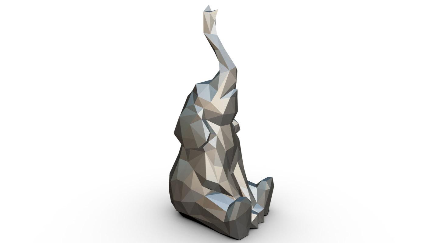 printed elephant figure 3 3D model