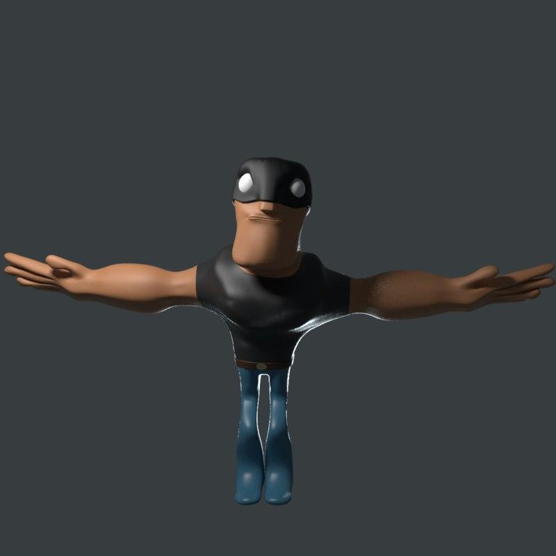 3D cartoon hero man rigged model