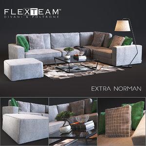 extra norman flexteam sofa 3D model