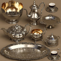 3D Silver service set (9 lowpoly items)