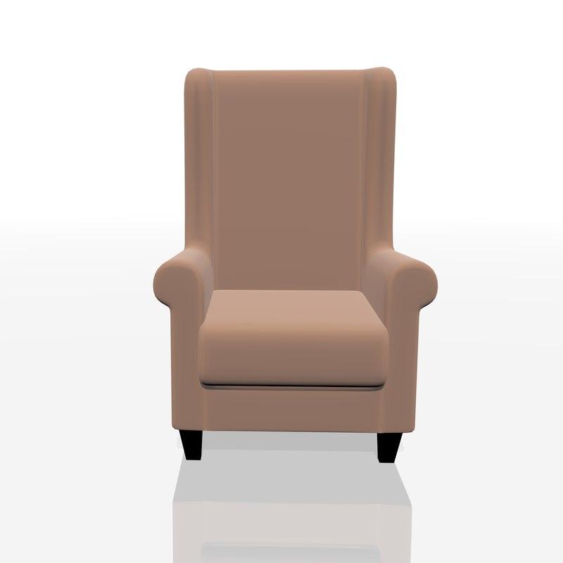 3D realistic armchair chair model