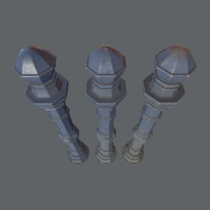 3D model barrier bollard pack 2