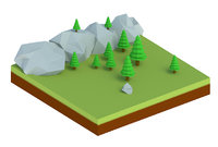 forest trees rocks 3D