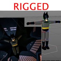 3D character dark knight rigged
