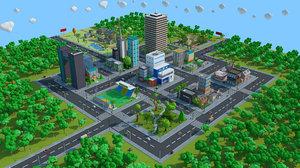 cartoon city modeled 3D model