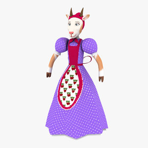 goat mother character rigged 3D
