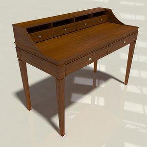 3D walnut secretary desk modeled model