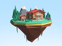 Lowpoly Mount House Asset