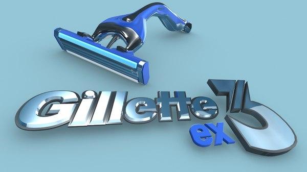 shaver gillette razor blade 3D