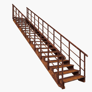 rusty rust staircase 3D model