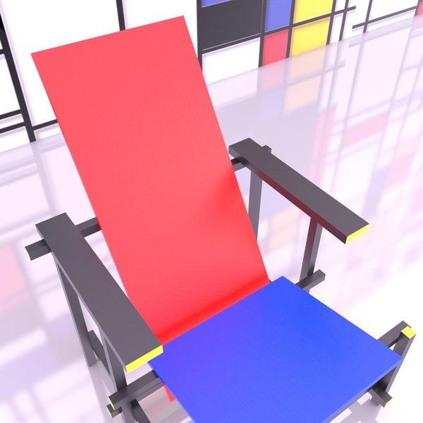 gerrit rietveld chair old 3D model
