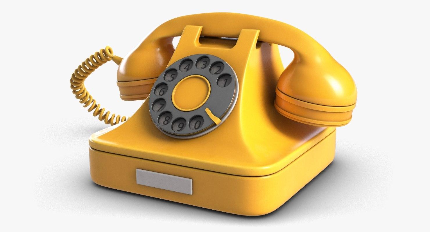 3D retro telephone model