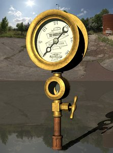 3D vintage crosby steam pressure