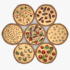 3D assorted pizza set
