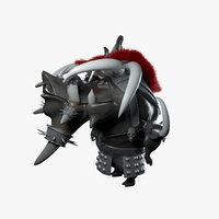 cartoon boar warrior games 3D model