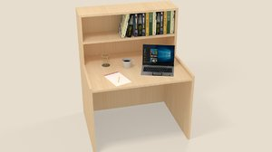 reading table book laptop 3D