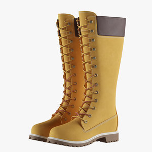 3D leather 14-inch yellow boots model