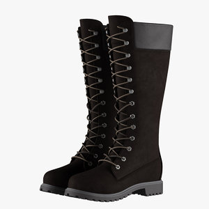 leather 14-inch black boots 3D model