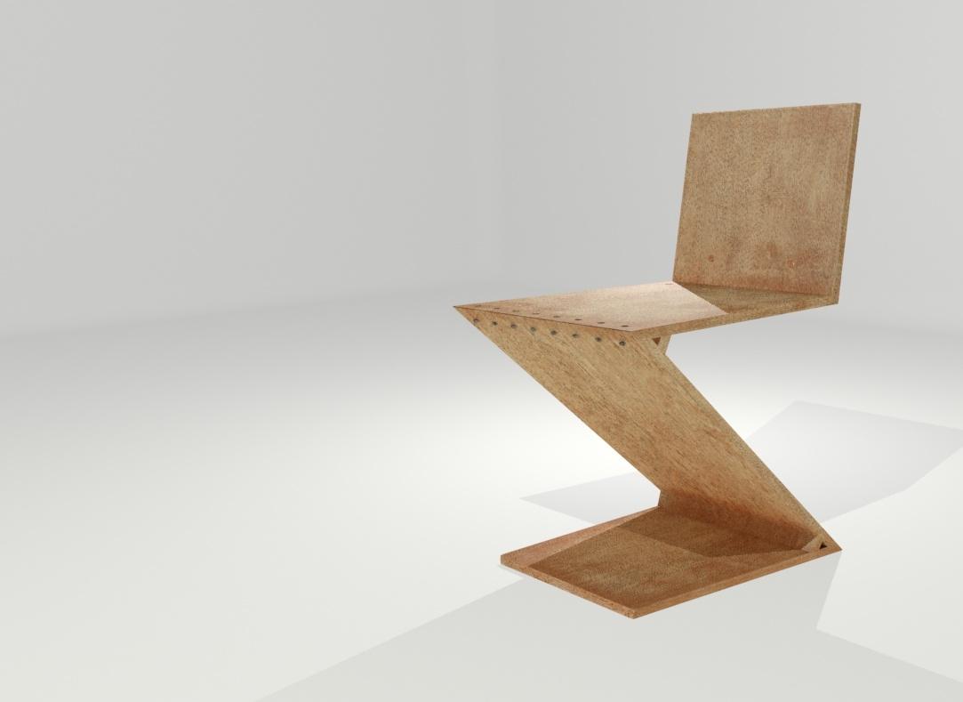 3D zig-zag chair model