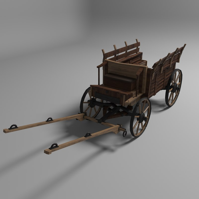 3D old wooden carriage