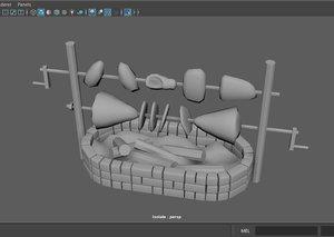 3D model fantasy medieval spit food
