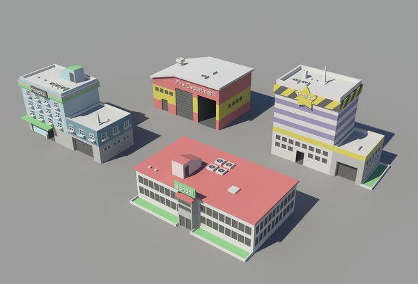 isometric buildings 3D model