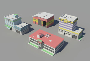 isometric buildings 3D model