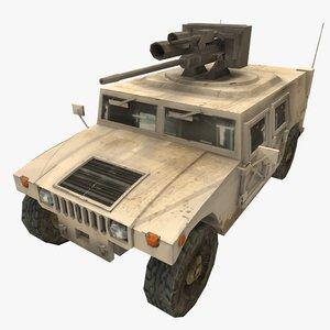 3D model humvee m242 bushmaster