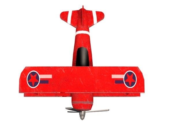 biplane plane ready games 3D model