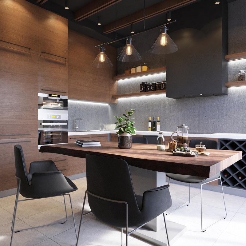 kitchen wooden room model