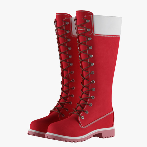 3D leather 14-inch red boots