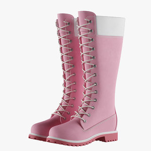 3D leather 14-inch pink boots