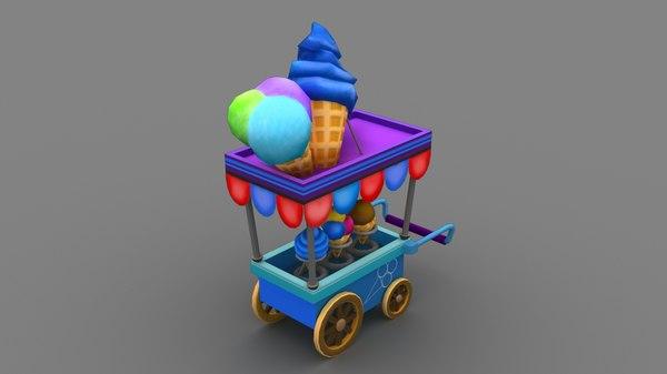 3D handpaint icecream cart model