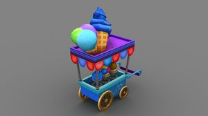 3D handpaint icecream cart model