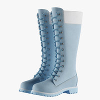 3D leather 14-inch blue boots