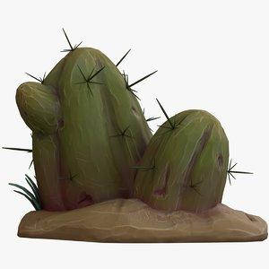 cartoon cactus v1 3D model