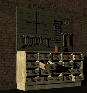vintage work bench tools 3D model