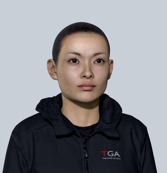 asian woman head face 3D model