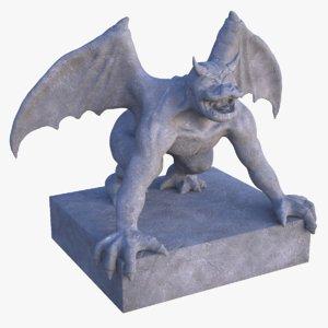 3D gargoyle statue pbr model