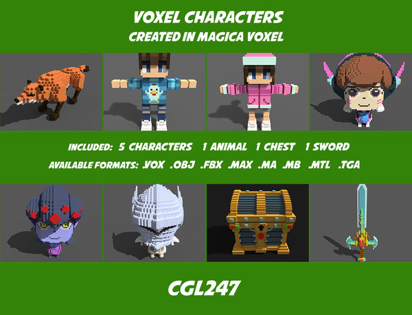 3D character voxel model
