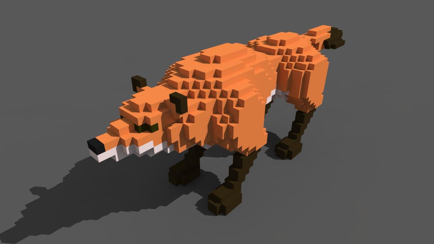 voxel fox 3D model