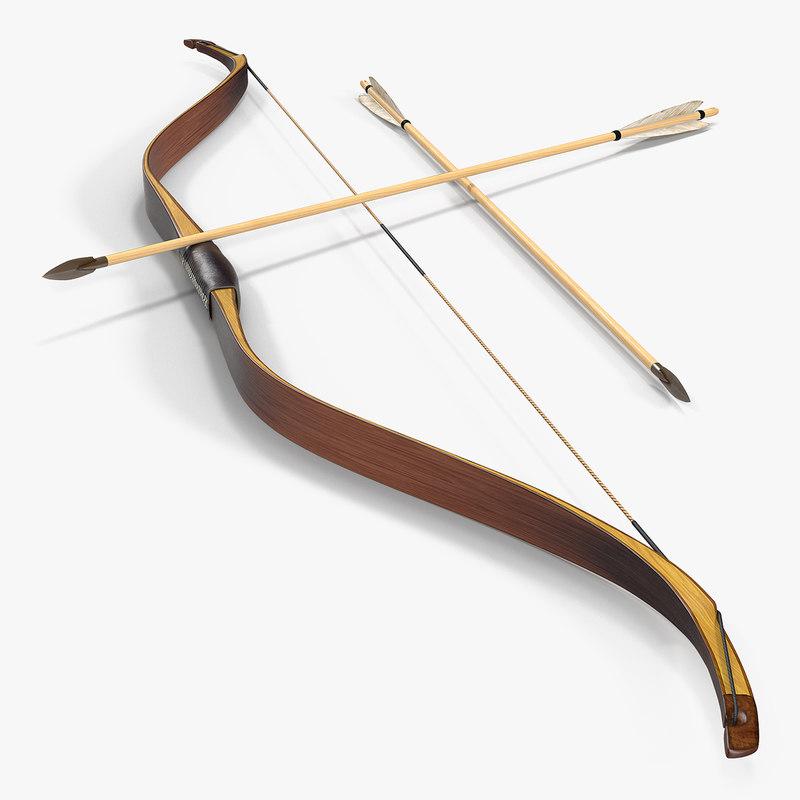 antique wooden bow arrows 3D model