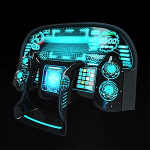 interactive control panel 3D model