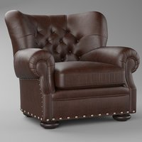 CHURCHILL LEATHER RH CHAIR WITH NAILHEADS