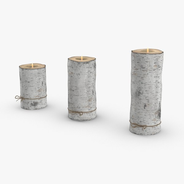 3D model birch-tree-candle-holder- version-with-ribbon-wrapped