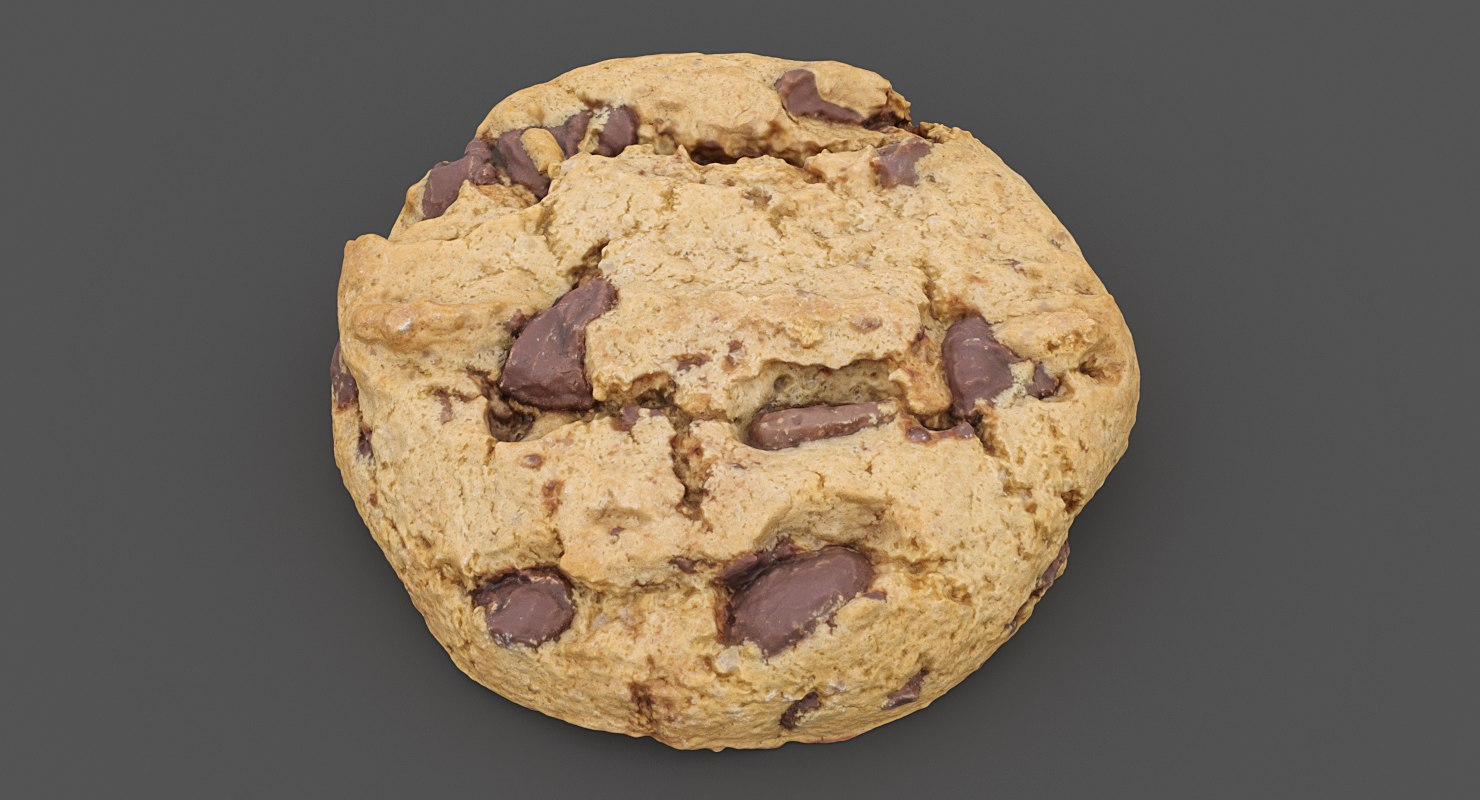 3D realistic chocolate chip cookie