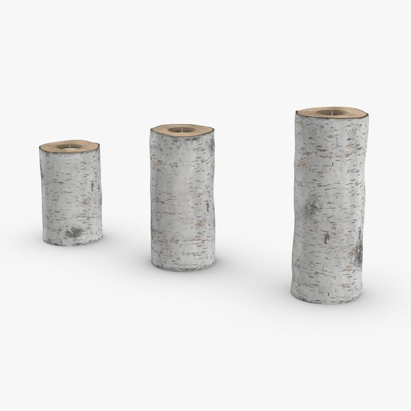 birch-tree-candle-holder- version-with-ribbon-wrapped 3D model