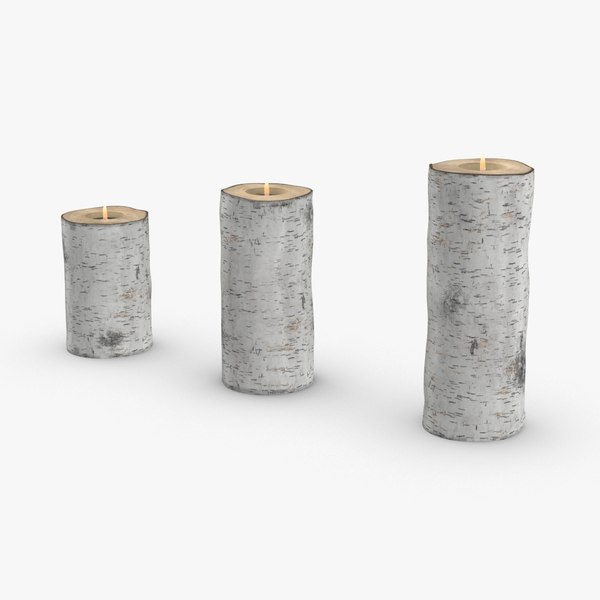 3D birch-tree-candle-holder- version-with-ribbon-wrapped model
