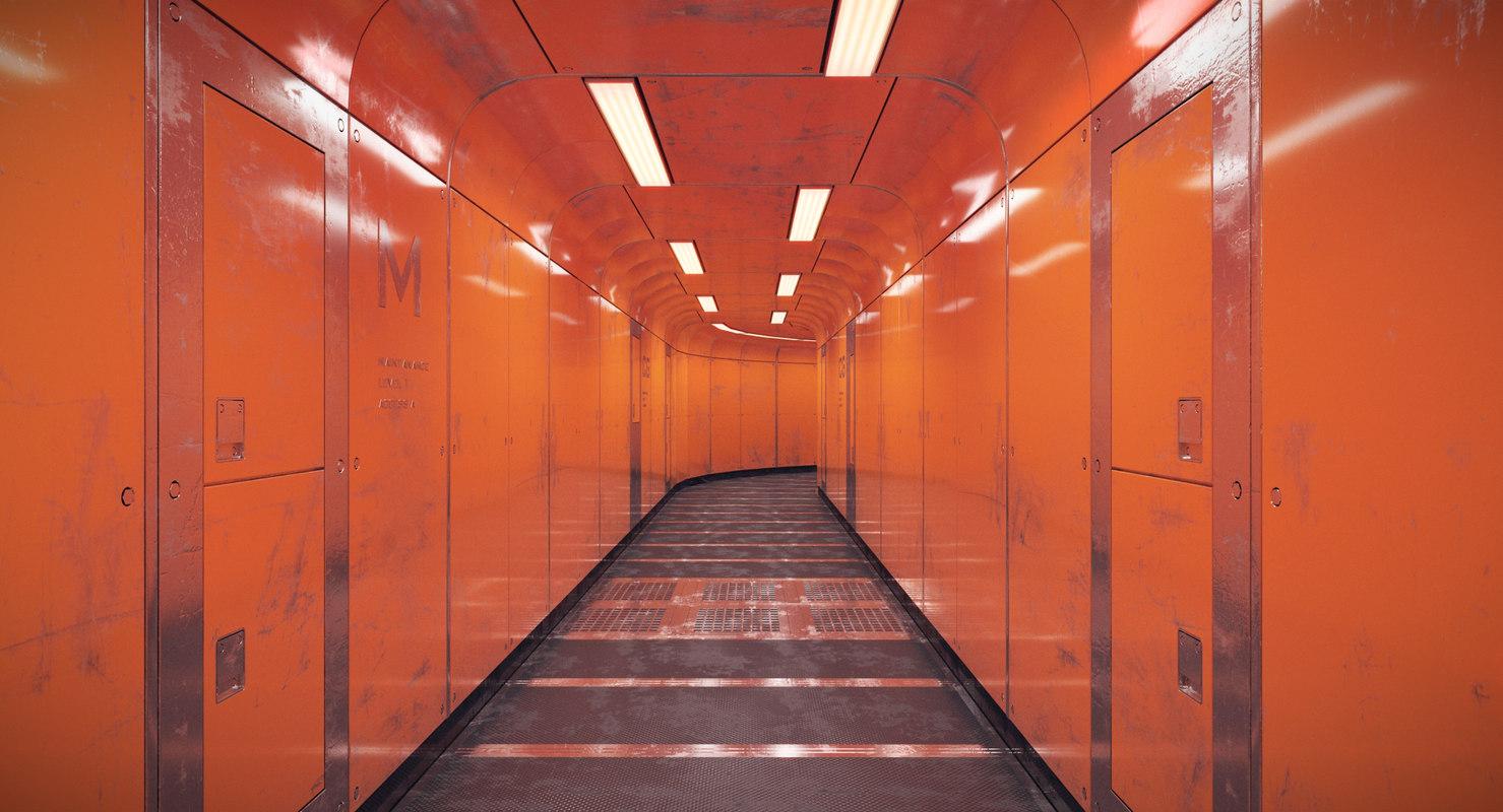 spacecraft corridor 3D model